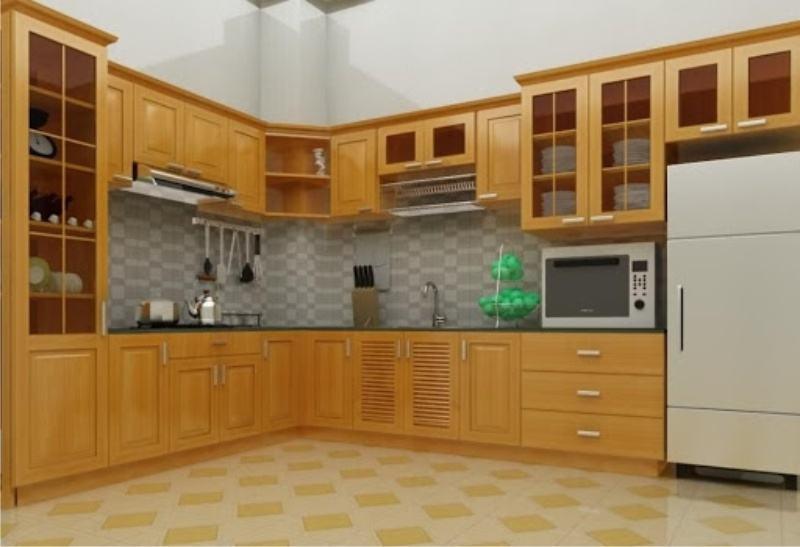 tủ bếp đà nẵng , mẫu gỗ tự nhiên