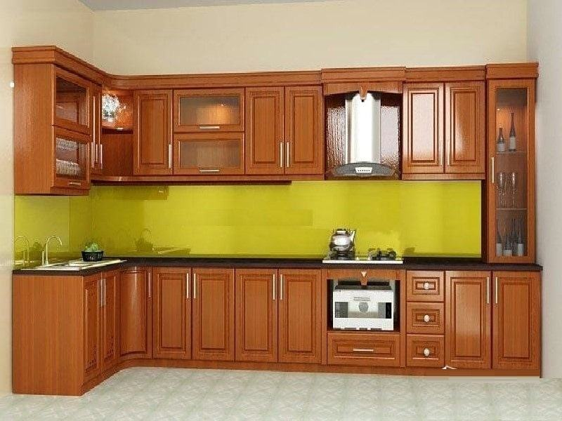 Xưởng đóng tủ bếp gỗ tự nhiên cho khách hàng